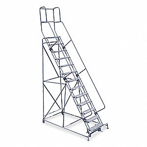 "Stock Picking Rolling Ladder, 170"" Overall Height, 450 lb. Load Capacity, Number of Steps 13"