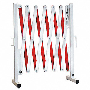 Portable Barricade,Expanding,White/Red