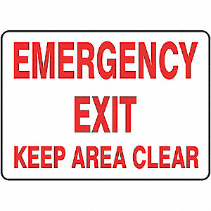 Emergency Exit Sign,10 x 14In,R/WHT,ENG