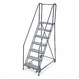 "Rolling Ladder, 100"" Overall Height, 450 lb. Load Capacity, Number of Steps 7"