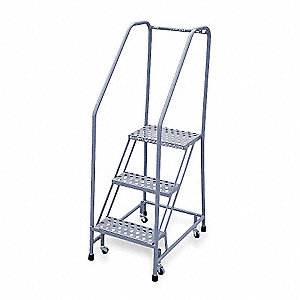 "Rolling Ladder, 60"" Overall Height, 450 lb. Load Capacity, Number of Steps 3"