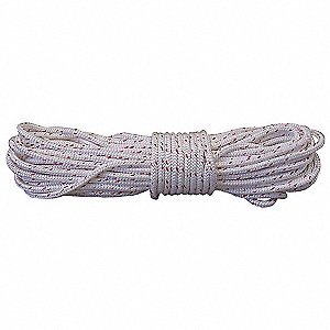 "Polyester Climbing Rope, 1/2"" Rope Dia., 600 ft. Length, Red/White"