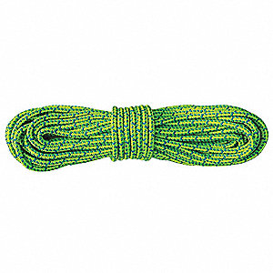 "Polyester Climbing Rope, 1/2"" Rope Dia., 150 ft. Length, Blue/Neon Green/Yellow"