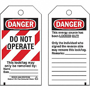 "Cardstock, Do Not Operate This Lock/Tag May Only Be Removed By Danger Tag, 5-3/4"" Height, 3"" Width,"