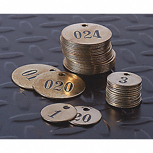"Brown Numbered Tag, Brass, Round, 1"" Height, 1 EA"