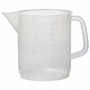Beaker With Handle, Polypropylene, Capacity: 500 mL, Graduation Subdivisions: 25 mL