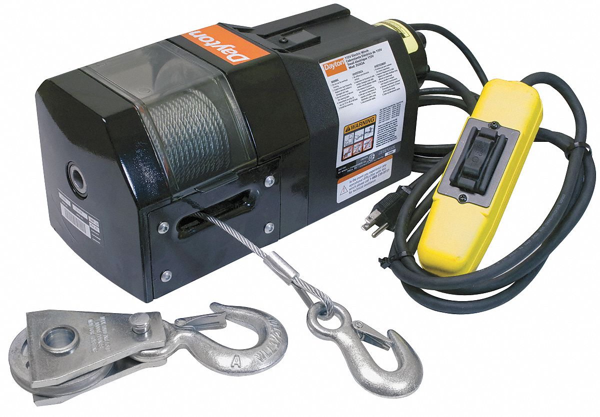winch electric dayton lift 110v cable lifting load rigging steel lb layer grainger 1000 fpm motor pull motors rope wire