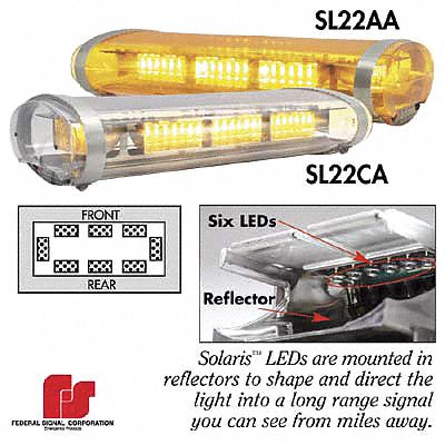 Federal signal clear dome amber leds low profile mini - Federal signal interior lightbar ...