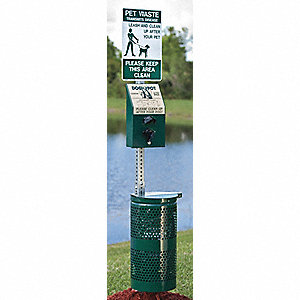 10 gal. Pet Station, Green, Aluminum/Steel, Pet Waste Container