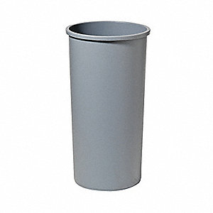 22 gal. Round Gray Open-Top Trash Can