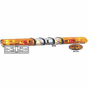 Amber Light Bar, Halogen Lamp Type, Permanent Mounting, Number of Heads: 2