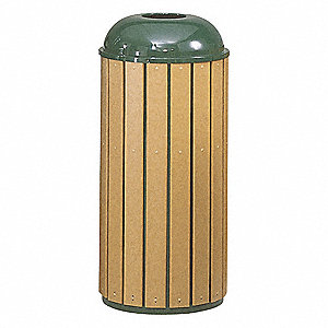 22 gal. Regent 50 Series, Green, Plastic/Steel, Trash Can