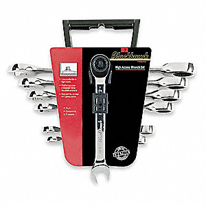 Ratcheting Wrench Set, Combination, High Access, SAE, Number of Pieces: 7