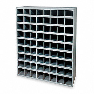 "Pigeonhole Bin Unit, 42"" Overall Height, 33-3/4"" Overall Width, Total Number of Bins 72"