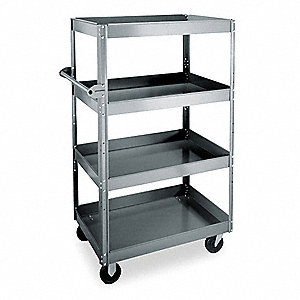 Stock Cart, 800 lb. Load Capacity, (2) Rigid, (2) Swivel Caster Type