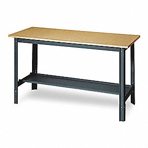 "Workbench, Steel Frame Material, 60"" Width, 30"" Depth  Particleboard Work Surface Material"