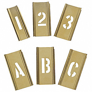 "Interlocking Stencil, Letters and Numbers, 1"", Brass, 1 EA"