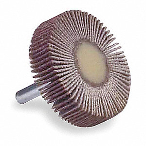 "2"" Mounted Flap Wheel With Shank, Coated, 1"" Width, 1/4"" Shank Size, Aluminum Oxide, 120 Grit, Fine"