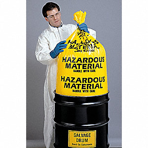 Yellow Hazardous Material Bag, Contractor Strength Rating, Flat Pack, 24 PK