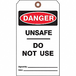 "Cardstock, Unsafe Do Not Use Danger Tag, 7"" Height, 4"" Width"