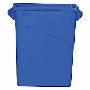 16 gal. Rectangular Blue Open-Top Trash Can