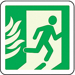 Fire Exit Sign,8 x 8In,GRN/WHT,SYM,SURF