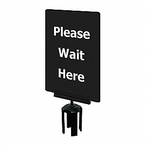 Acrylic Sign,Black,Please Wait Here