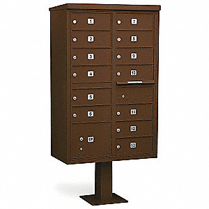 Cluster Box Unit,13 Doors,Bronze