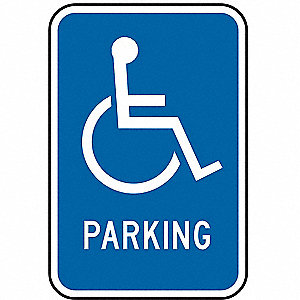 "Text and Symbol Parking, High Intensity Prismatic Aluminum Handicap Parking Sign, Height 18"", Width"