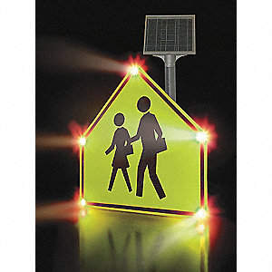 School Crossing LED School Zone Sign, White LED Color, Power Requirements: Solar