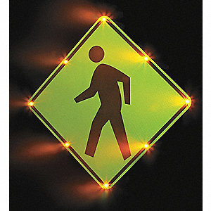 Pedestrian Crossing Pictogram LED Traffic Sign, Amber LED Color, Power Requirements: 110V