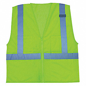Lime High Visibility Vest, Size: L, 2 ANSI Class, Zipper Closure Type