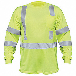 Lime Polyester, DuPont(TM) Teflon® fabric protector Long Sleeve T-Shirt, Size: L, ANSI Class 3