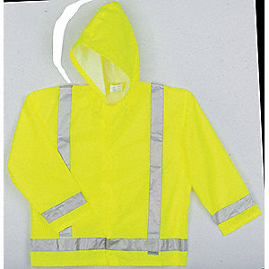 "Men's Hi-Visibility Yellow/Green Polyurethane Rain Jacket with Hood, Size L, Fits Chest Size 42"" to"