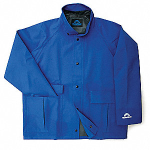 "Men's Royal Blue Polyester Rain Jacket, Size M, Fits Chest Size 38"" to 40"", 30"" Jacket Length"
