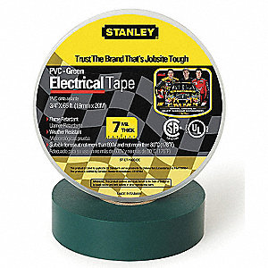 "Green Vinyl Electrical Tape, 3/4"" Width, 66 ft. Length, 7 mil Thickness"