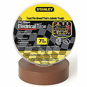 "Brown Vinyl Electrical Tape, 3/4"" Width, 66 ft. Length, 7 mil Thickness"