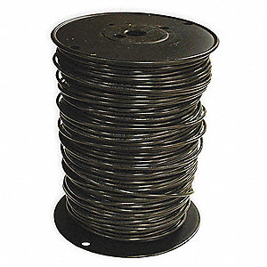 "Building Wire, Black, Solid, 30 Max. Amps, 0.15"" Nominal Outside Dia."