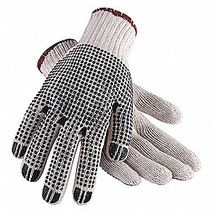Natural/Black Lightweight Knit Gloves, Polyester/Cotton, Size L, 10 Gauge