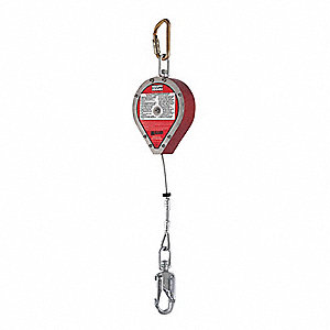 Slf-Rtrctng Lifeline,20ft,Stnlss Stl,Red