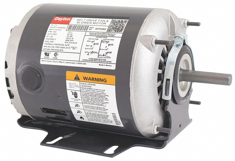 Dayton 1 4 hp belt drive motor split phase 1725 for Dayton gear motor catalog