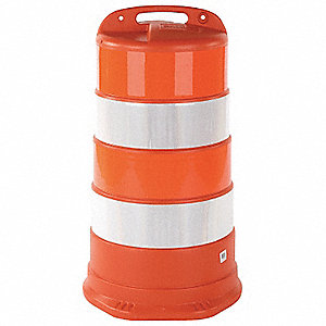 Traffic Barrel,White/Orange,HDPE