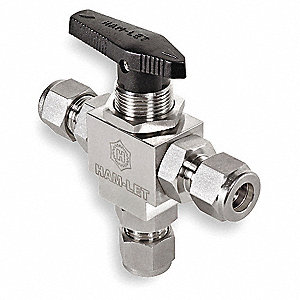 316 Stainless Steel 3-Way Mini Ball Valve, Tube x Tube x Tube