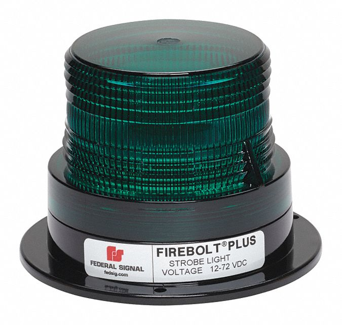 FEDERAL SIGNAL Beacon Light, Green, Flashing