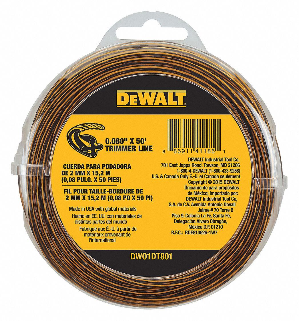 DEWALT String Trimmer Line, 0.080 in. dia, 50 ft. - 40CA27 ...