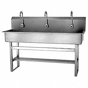 Stainless Steel Wash Station, With Faucet, Floor Mounting Type, Silver