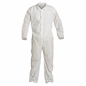 Collared Disp. Coverall,White,4XL,PK25
