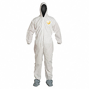 Hooded Disposable Coverall,White,L,PK25