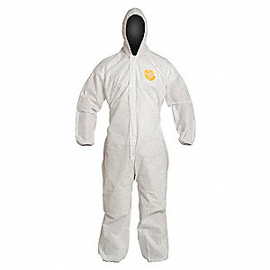 Hooded Disp. Coverall,White,2XL,PK25