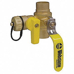 Brass 3-Way Ball Valve with Drain, Cup x Cup x Hose Cap